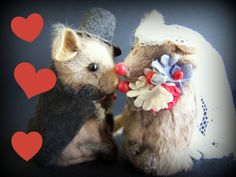 Vintage Miniature Toys 2 Bride and Groom Mouse by papercherries