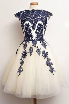 Cap Sleeve Princess Homecoming Dresses, Scalloped Neck Tulle Homecoming Dresses, Modest Knee-length Homecoming Dresses with Lace Appliques, #020102559