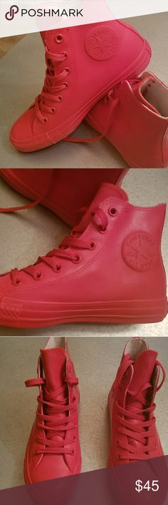 Bright Red Converse Chuck Taylor High Tops Red Converse Sneakers  High Top Rubber Unisex Size:8_Woman  Sneakers are brand new. Only worn one time Converse Shoes Sneakers