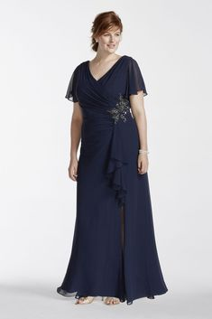 Short Plus Size Long Chiffon Mother of Bride/Groom Dress with Flutter Sleeves - Navy (Blue), 22W