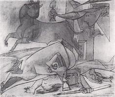 : Picasso - Sketches for Guernica Pablo Picasso, Picasso Guernica, Art Picasso, Picasso Drawing, Picasso Paintings, Picasso Sketches, Degenerate Art, Cubist Movement, Spanish Artists
