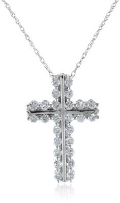 "10k White Gold Diamond Cross Pendant Necklace (1/2 cttw, I-J Color, I2-I3 Clarity), 18"" Amazon Curated Collection http://smile.amazon.com/dp/B003DTMQG6/ref=cm_sw_r_pi_dp_n.Niub1YB8ZDE"