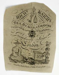 Engraved paper sheet used for wrapping small quantities of loose tea purchased from the tea and chcolate dealer and grocer Richard Knight located at 83 Gracechurch Street. The engraving by William Innes includes the name and address of the dealer and a depiction of a chinese man sitting beside a tea plant, tea chest and cup and saucer.Until the 1830s all tea imported into London was grown in China.    Production Date:  1774-1818