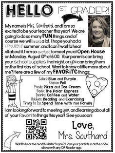 Do you send out Welcome Back to School letters to your students? This year I added a technology twist to my letters using a QR Code. I added a QR Code of me reading the letter to my students.Head on