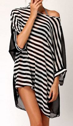 striped scoop neck cover up