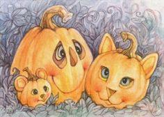 """""""Cat & Mouse Pumpkins"""" by Lynn Bonnette"""