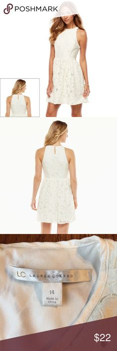 """LC Lauren Conrad white ivory lace dress You'll be gorgeous in this women's LC Lauren Conrad dress, featuring a beautiful floral lace design. Perfect for upcoming spring and summer events- especially bridal showers and bachelorette parties.  Cream color. Fit and flare style. Fully lined. Side zipper and keyhole back. Bust is 36"""", length is 36"""". LC Lauren Conrad Dresses Mini"""