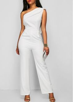 Overlay Zipper Up One Shoulder White Jumpsuit