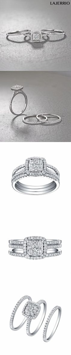 e58cf5b169 Lajerrio Jewelry Princess Cut White Sapphire S925 3 Piece Ring Sets |  Wedding Rings | Pinterest | White sapphire, Princess cut and Sapphire