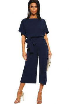 b2bcaa39c7 Black Always Chic Belted Culotte Jumpsuit Blue