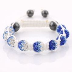 Blue flame, gradient crystal beads on white cord.