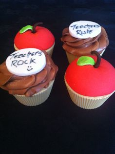 Teacher Cupcakes Teacher Cupcakes, Fun Cupcakes, Cupcake Cakes, School Parties, Teacher Gifts, Fondant, Cake Decorating, Clever, Sweets