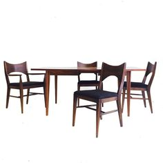 mid century broyhill dining set with 4 chairs and one leaf