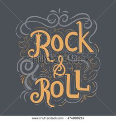 Rock and Roll hand lettering with vintage hand drawn background