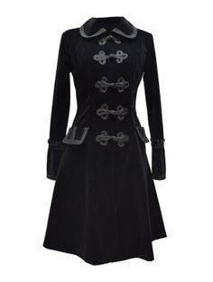 Black Chinese Style Gothic Long Coat for Women
