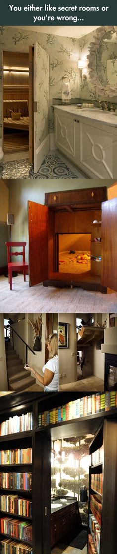 Cool secret rooms, secret places, secret passage, hidden spaces, house go. Hidden Spaces, Hidden Rooms, Future House, My House, Pantry Makeover, Dream Rooms, Cool Rooms, My New Room, House Rooms