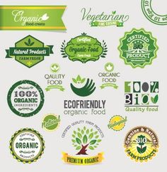 Organic food logos and labels vector 06