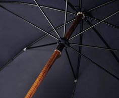Navy Constellation Exterior Solid Stick Maple Wood Umbrella by London Undercover England