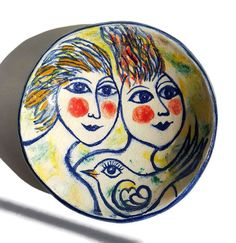 Handmade and Hand painted Small Earthenware Dish by Danish potter Helle Bendstrup, Danish Modern Pottery, Home decor