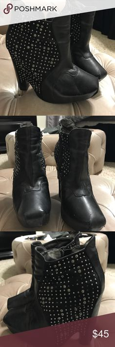 Sam Edelman black studded booties Black Sam Edelman stiffen booties. Medium wear work some small missing studs. Sam Edelman Shoes Ankle Boots & Booties