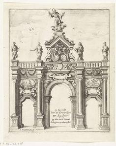 Gaspar Bouttats | Triomfpoort opgericht in de Schrijnwerkersstraat, 1685, Gaspar Bouttats, 1685 | Triomfpoort opgericht op de hoek van de Schrijnwerkersstraatdoor te Antwerpen. Onderdeel van de illustraties van de versieringen opgericht te Antwerpen bij de viering in 1685 van het eeuwfeest van de bevrijding van de stad door de hertog van Parma in 1585.