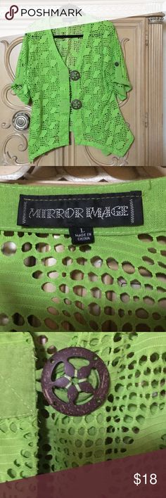 Mirror image bright green cover jacket size Large Very airy and light has buttons up from shark bite sides to give skinny waist bright green. Good condition size large comes from smoke free home mirror image Jackets & Coats