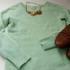 XS J. Crew wool blend sweater Waffle knit wool blend sweater in a baseball style cut. Super soft and cozy, great mint color, lightweight enough for Spring! Boots also for sale, shop my closet! J. Crew Sweaters Crew & Scoop Necks
