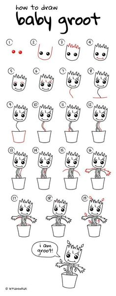 drawings - how to draw Baby Groot. Simple drawing, step by step Drafting drawings - how to draw Baby Groot. Simple drawing, step by step -Drafting drawings - how to draw Baby Groot. Simple drawing, step by step - Easy Drawing Steps, Step By Step Drawing, Drawing Tips, Drawing Art, Drawing Tutorials, Step By Step Sketches, Drawing Animals, Drawing Faces, Rocket Drawing