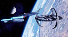 The USS Phobus, a Loknar class Frigate comes under attack after stumbling into a three ship Klingon raiding party. Trek Deck, Fortune Favors The Bold, Space Battles, Dragon King, Star Trek Ships, Star Trek Universe, Model Ships, Sci Fi Fantasy, Sci Fi Art