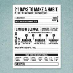 21 Days to Make a Good Habit Printable Sheet