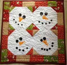 Quilted Cupcake: Snowman Wall Quilt or Table Runner