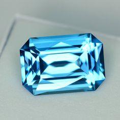 MJ1888 - 7.78ct electric blue Topaz - Brazil 13.80 x 9.57 x 6.72 mm clean, custom cut, irradiated, $275 shipped