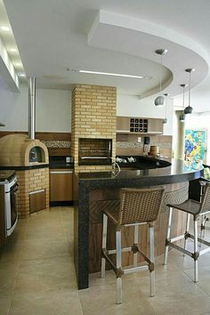Kitchen island ideas for inspiration on creating your own dream kitchen. diy painted small kitchen design - with seating and lighting Big Kitchen, Kitchen Decor, Kitchen Island, Kitchen Ideas, Home Interior, Interior Design, Sweet Home, Outdoor Kitchen Design, Kitchen Pictures