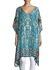 Horizon+Silk+Georgette+Poncho,+Blue,+Plus+Size+by+Johnny+Was+at+Neiman+Marcus.