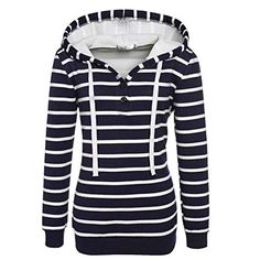 AMATM Women Stripe Long Sleeve Hooded Sweatshirt Hoodie Pullover Tops Coat XL Navy *** For more information, visit image link.(This is an Amazon affiliate link) Coupon Organization, Oversized Shirt, Crock Pot, Ali, Printable, Cruise, Stripes, Hooded Sweatshirts, Cheap Sweaters