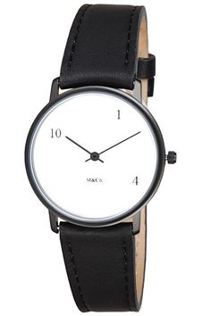 Click Image Above To Buy: Projects Unisex 10 One 4 M Stainless Watch - Black Leather Strap - White Dial - 7402
