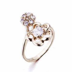 metal anillo, Flor, chapado, diverso tamaño para la opción & con circonia cúbica, más colores para la opción, libre de níquel, plomo & cadmio, 11x20mm, Vendido por Unidad,Abalorios de joyería por mayor de China