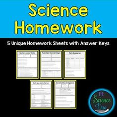 FREE!!! Science Homework Sampler. This resource contains 5 unique homework or activity sheets (front and back with answer keys) covering major science concepts.