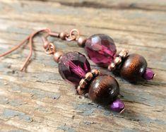 Handmade beaded Jewellery - bright, boho & fun by reccabella Purple Earrings, Purple Jewelry, Bead Earrings, Beaded Jewellery, Handmade Beaded Jewelry, Earrings Handmade, Beaded Anklets, Beaded Bracelets, Pinterest Marketing