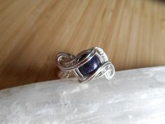 Lapis Lazuli Bead Ring Wrapped in Sterling Silver by OurFrontYard, $29.77