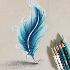 feather tattoo Hello Everyone! blue feather tbh i didnt really know how i was Pencil Art Drawings, Art Drawings Sketches, Cool Drawings, Blue Drawings, Drawing Faces, Feather Drawing, Feather Art, Tattoo Feather, Feather Painting