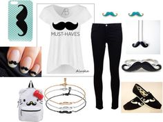 """""""CRAZY for MUSTACHES"""" by kristayyyy ❤ liked on Polyvore"""