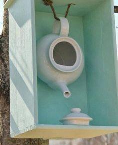 DIY teapot birdhouse.
