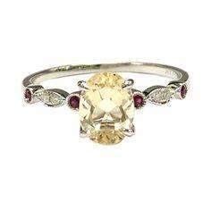 $328 Yellow Morganite Engagement Ring Pave Diamond Ruby Wedding 14K White Gold,6x8mm Antique Art Deco LOGR-Morganite Rings http://www.amazon.com/dp/B017XKGW9C/