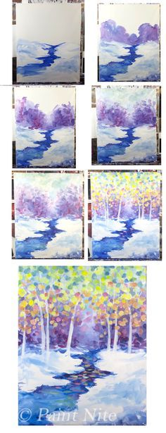Confetti Forest- Easy Brushes: Big Flat, Medium Round Colors: Red, White, Blue, Yellow