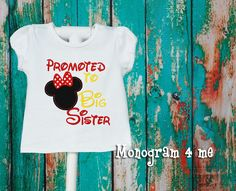 Minnie Mouse Promoted to Big Sister Girls Sibling Shirt, Big Sis Sibling Shirts, Sister Shirts, Disney Gender Reveal, Big Sister Announcement, Promoted To Big Sister, Cricut Creations, New Baby Products, Minnie Mouse, Cool Outfits