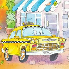 """The Taxi cries, """"Oh no!  Uber took my fare!""""  From:  """"The Little Lost Truck"""""""