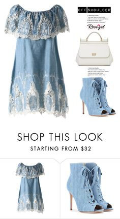 """""""ROSEGAL- Rosegal off shoulder floral dress"""" by divna2 ❤ liked on Polyvore featuring Gianvito Rossi and Dolce&Gabbana"""
