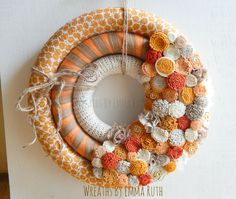 Fall triple wrapped wreath with burlap, lace and adorable pumpkin fabric. With handmade felt flowers. Made by Wreaths By Emma Ruth