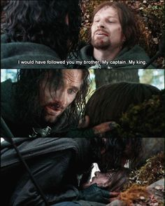 When Aragorn kisses his head, and when Legolas sees death. Legolas had already seen Gandalf's mourners crumple under the weight of his death. As an immortal being, he doesn't understand the concept of death-and here seeing Aragorn, his best friend saddened over death, he doesn't understand. I love how deep in they go with the idea. Every time he sees death he looks so confused.